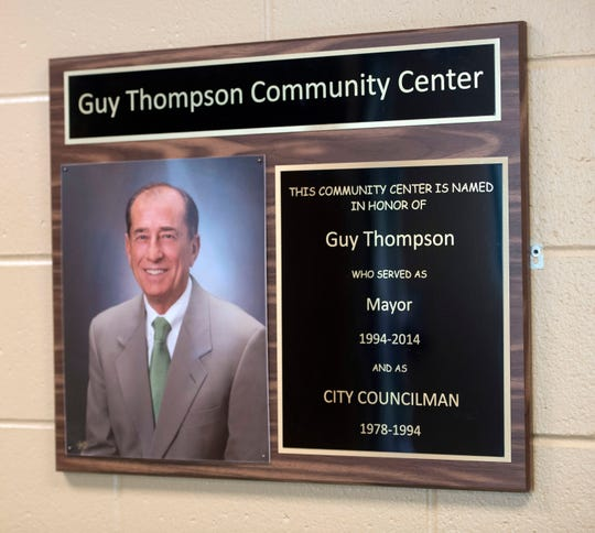 A plaque honoring former Milton Mayor Guy Thompson hangs inside the community center Monday. The Milton City Council will consider renaming the Guy Thompson Community Center after former mayor and ex-director of United Way of Santa Rosa County pleaded guilty to wire fraud and tax evasion.