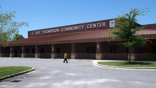 A Milton resident visits the Guy Thompson Community Center in Milton on Monday, May 13, 2019. The Milton City Council is expected to consider renaming the Guy Thompson Community Center following the recent legal problems of the former mayor.