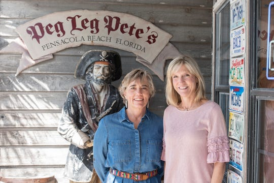 Sharon Gincauskas and Cheryl Kelsch. at Peg Leg Pete's, which participates in the Skip The Plastic campaign.