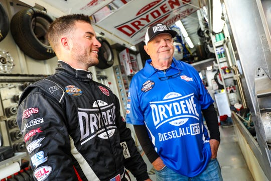 Hanover native Logan Schuchart, left, and his grandfather, Bobby Allen, are seen at Devil's Bowl Speedway on April 12. That night, Schuchart won his second A-main of the year and 10th of his career at the track where Allen also won a World of Outlaws race.