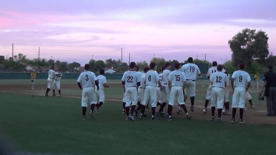 Mountain Pointe baseball team celebrates after Cole Tucker hits a game-winning home run in 2014.