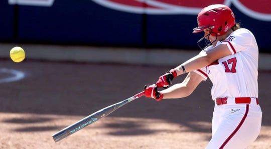 Arizona's Malia Martinez hits a three-run homer last month at Hillenbrand Stadium.