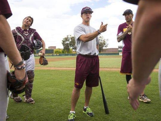 Brandon Buck coaching Mountain Pointe baseball team
