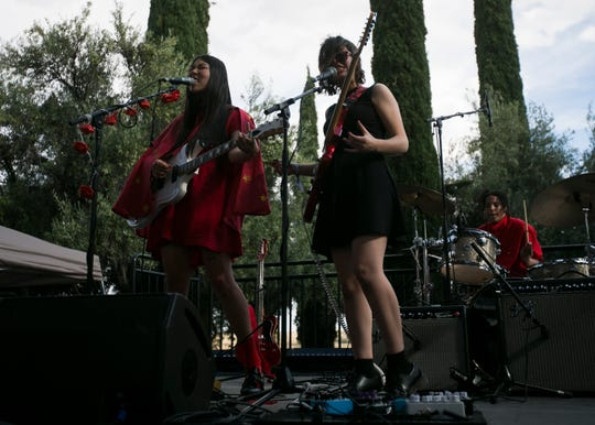 Sasami performs with Lindsey Jordan of Snailmail (right) at the 2019 FORM Arcosanti music festival near Camp Verde, Arizona, on May 12, 2019.