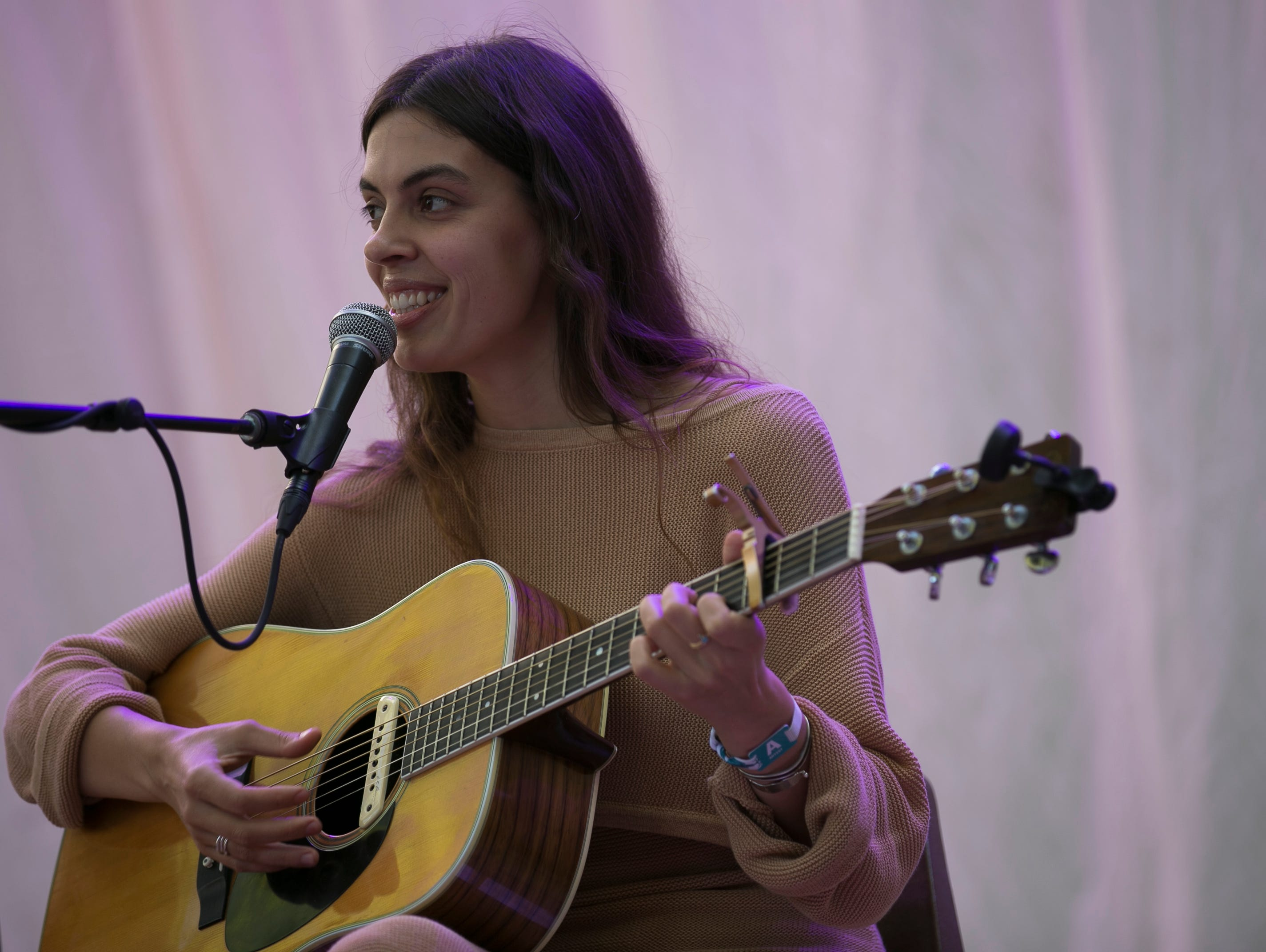 Julie Byrne performs at the 2019 FORM Arcosanti music festival near Camp Verde, Arizona, on May 12, 2019.