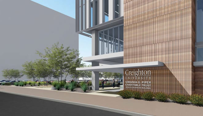 An artist's rendering shows the planned Creighton University Virginia G. Piper Charitable Trust Health Sciences Building, which is set to be built in Phoenix on theold Park Central Mall property in Phoenix.