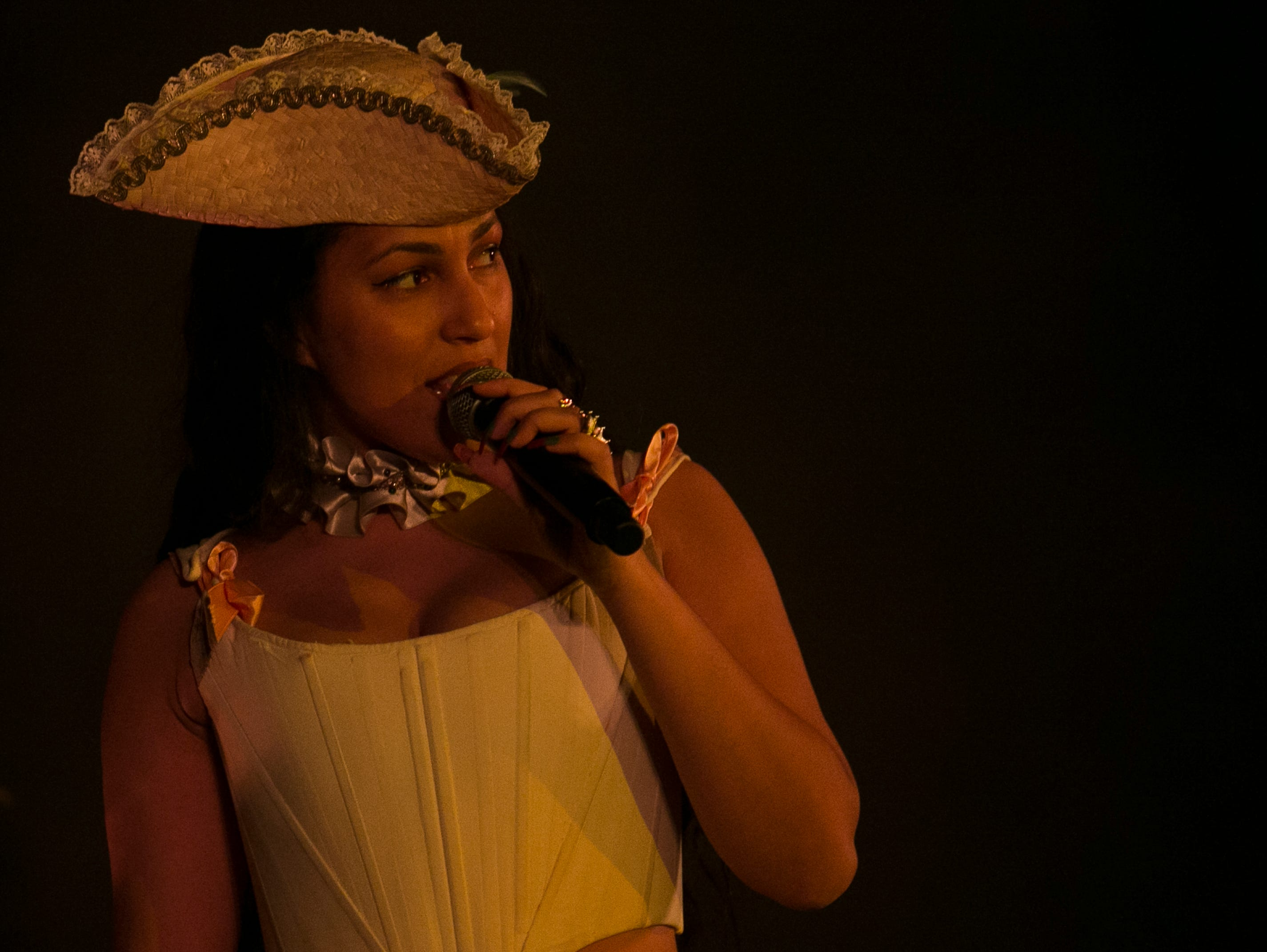 Lafawndah performs at the 2019 FORM Arcosanti music festival near Camp Verde, Arizona, on May 12, 2019.