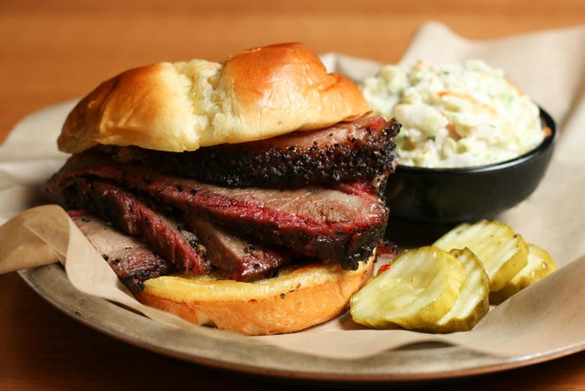 The brisket sandwich at Famous Dave's.