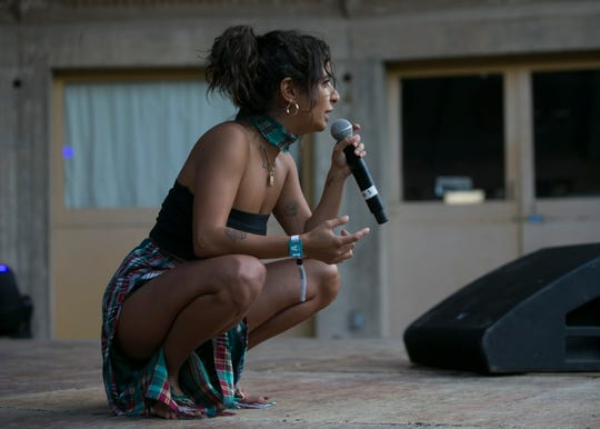 Rotana: Alien of Extraordinary Abilities, performs at the 2019 FORM Arcosanti music festival near Camp Verde, Arizona, on May 12, 2019.