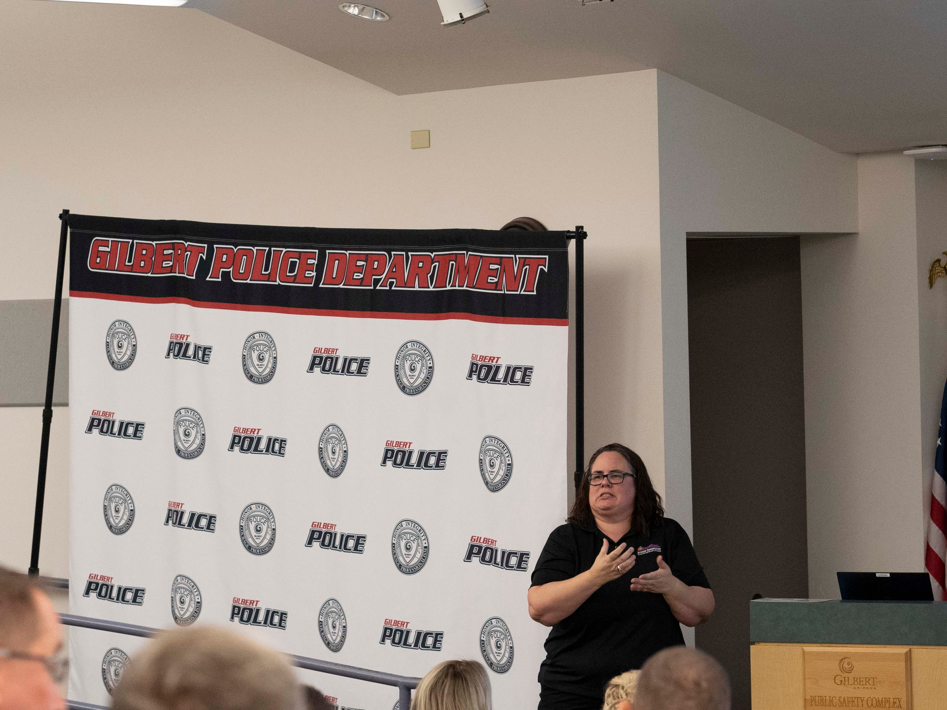 Beca Bailey, Community Engagement Liaison for Arizona Commission for the Deaf and Hard of Hearing, teaches Gilbert Police Department how to work with blind and deaf community.