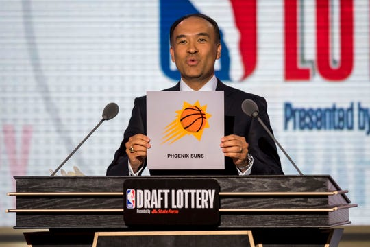 NBA deputy commissioner Mark Tatum announces the Suns will receive the No. 1 overall pick in the 2018 NBA draft. Phoenix used that pick to select Deandre Ayton.