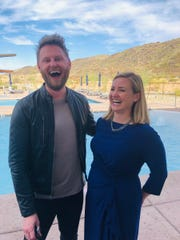 """Phoenix Mayor Kate Gallego posted a photo of herself (right) with """"Queer Eye"""" designer Bobby Berk in Phoenix May 10, 2019."""