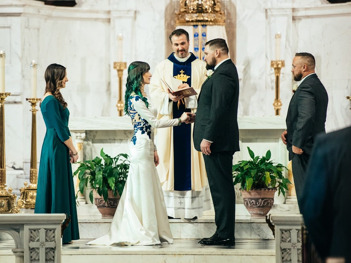 Even though this was a traditional church wedding, Taryn Blake, a York-based wedding planner and owner of Taryn Blake Events, helped this bride put her own spin on the ceremony to reflect her personal style, green hair and all.