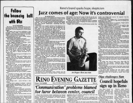 Front page of the Reno Evening Gazette, March 29, 1975