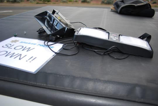 Emergency lighting on the dash of Jay Harlen Jeffers' personal Nissan Frontier pickup truck. Jeffers, a Sparks police chaplain, was allegedly using the lighting to impersonate a law enforcement officer.