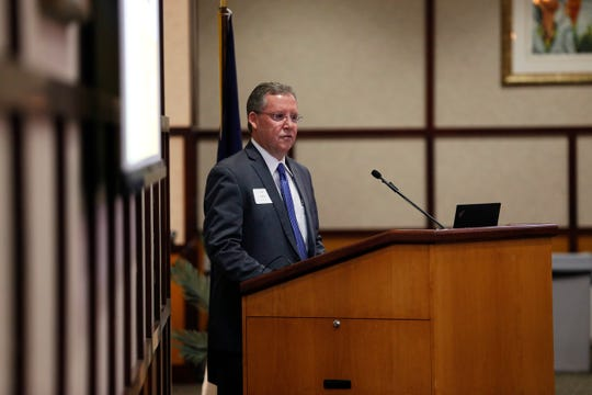 Past Chair Tim Frame reviews the work of the EDC of Wayne County in 2018 during the organization's annual meeting in Lingle Hall at Reid Health on Monday, May 13, 2019.