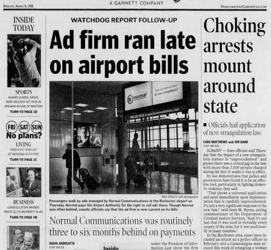 The Democrat and Chronicle reported at length on the sordid financial relationship between Monroe County and Normal Communications in 2011.