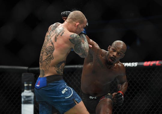 Jon Jones, right, defeated Anthony Smith during UFC 235 on March 2 at T-Mobile Arena in Las Vegas.