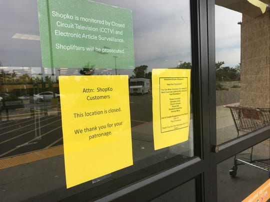 A message to customers on the front door of Shopko in Redding. The store closed after business Sunday, May 12, 2019, ending a nearly 30-year run in the city.