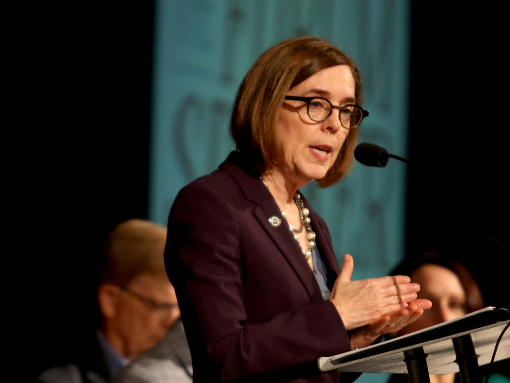 Gov. Kate Brown speaks during the Salem Area Chamber of Commerce monthly Forum Speaker Series at the Salem Convention Center on May 13, 2019.