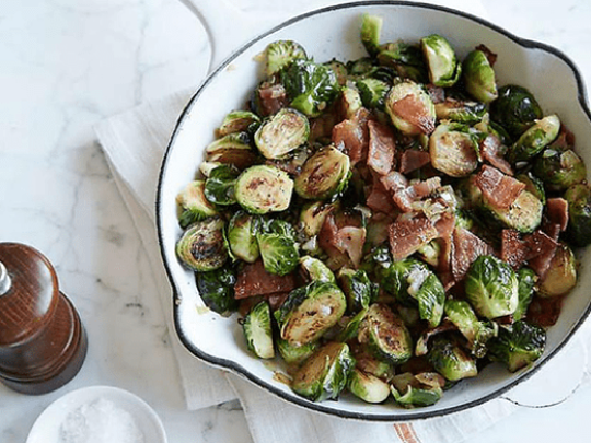 Pan-roasted Brussels sprouts with bacon