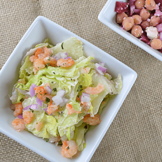 Shrimp lettuce salad.