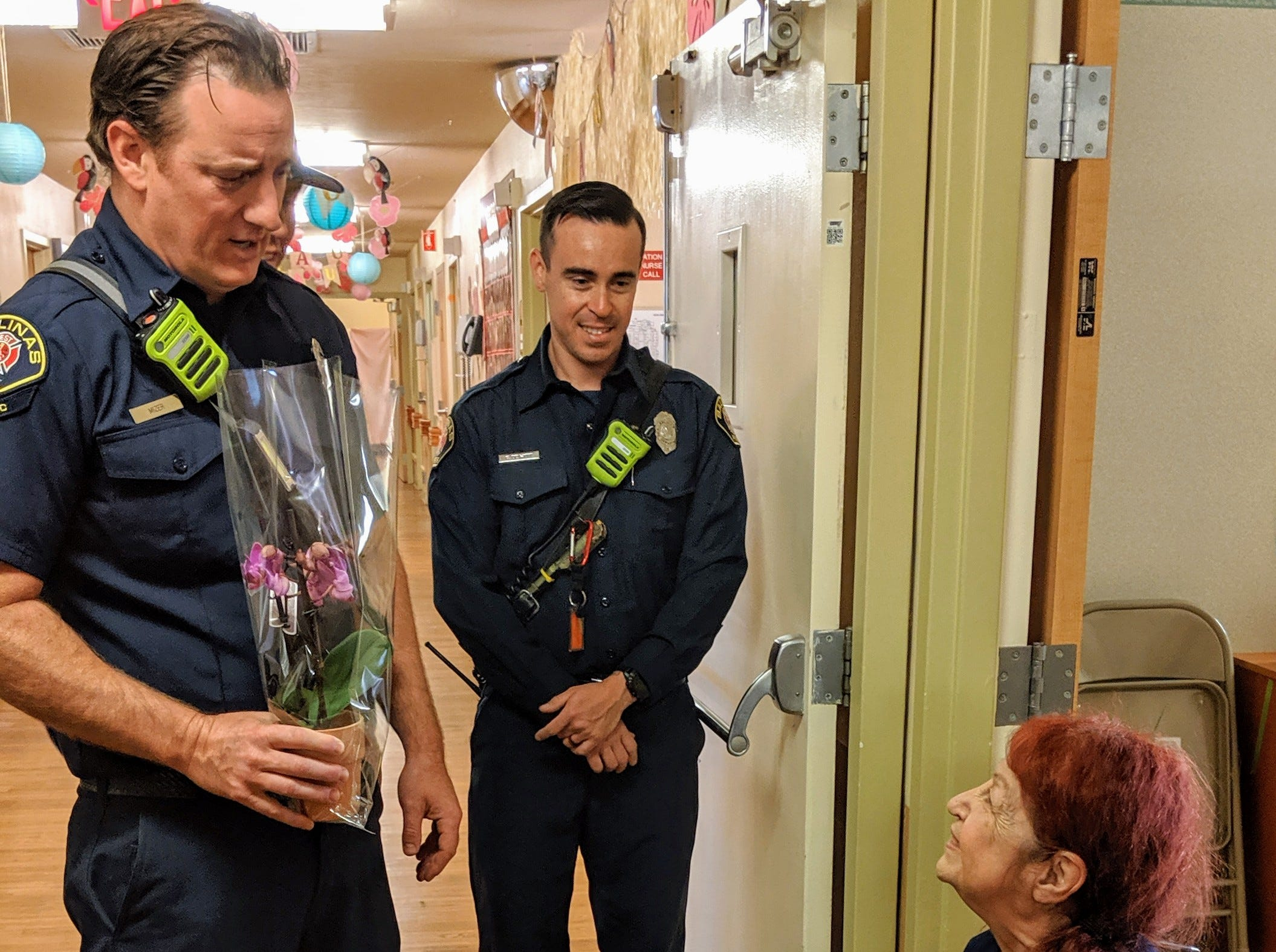 On Sunday, Salinas firefighters helped deliver Mother's Day flowersflowers to senior women living in long-term care facilities.