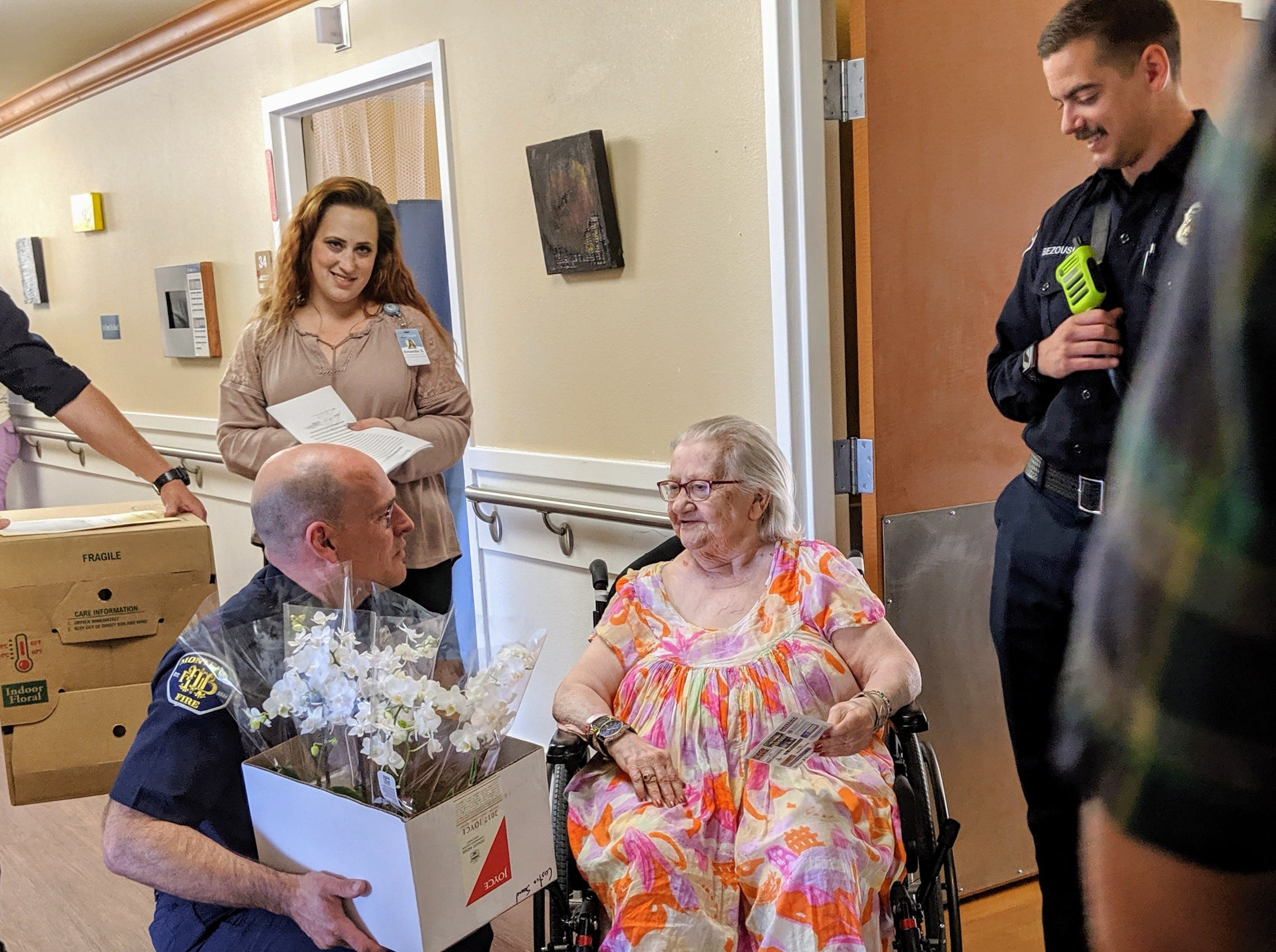 On Sunday, Monterey firefighters helped deliver Mother's Day flowersflowers to senior women living in long-term care facilities.