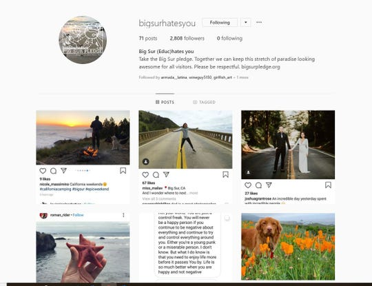 This screenshot shows the @bigsurhatesyou Instagram account which features screenshots of other people's posts and asks tourists to take the Big Sur pledge.
