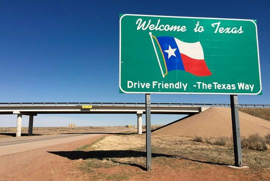 """A """"Welcome to Texas"""" sign along eastbound Interstate 40 entering Deaf Smith County from Quay County, New Mexico."""