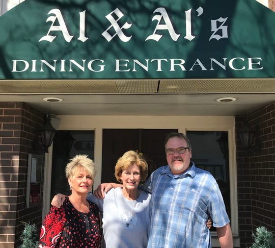 Susan Patterson (center), Steve (right) and Faye Bruyette (left) at Al & Al's on Monday, May 13 in Sheboygan, Wis. The Bruyettes have purchased the German restaurant from Patterson's family. The restaurant was started by Patterson's father and uncle in the early 60s.