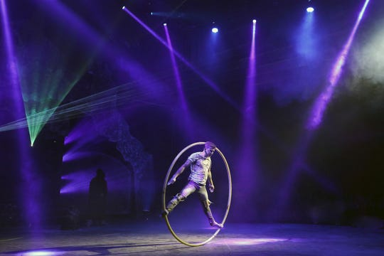 Artem Gavrilik performs on the Cyr Wheel at Paranormal Cirque. The R-Rated circus show runs in Shreveport May 16-19 at the Louisiana State Fairgrounds.