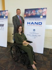 """Jeff Wyatt and his wife Kelley Wyatt, one of three patients whose """"healers"""" were honored at """"An Evening for Healers."""""""