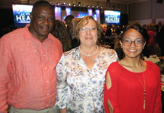 """Glen Wilson, his wife, """"Healers"""" patient Martha Wilson, and their daughter, Imani,  all of New Orleans, at """"Healers.""""   Martha Wilson's story was one of three featured at the benefit for LSU Health Shreveport."""