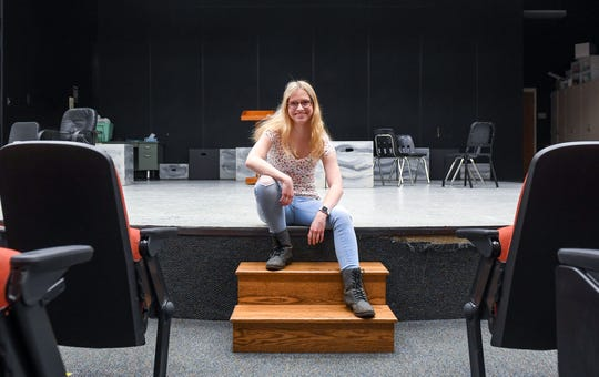 Jacey Kulm sits in the smaller auditorium Monday, May 13, 2019, where she spent much of her free time involved with the theater department at Washington High School in Sioux Falls. She will attend the University of South Dakota to major in psychology and criminal justice. She's one in the first set of quadruplets to graduate from the Sioux Falls School District.