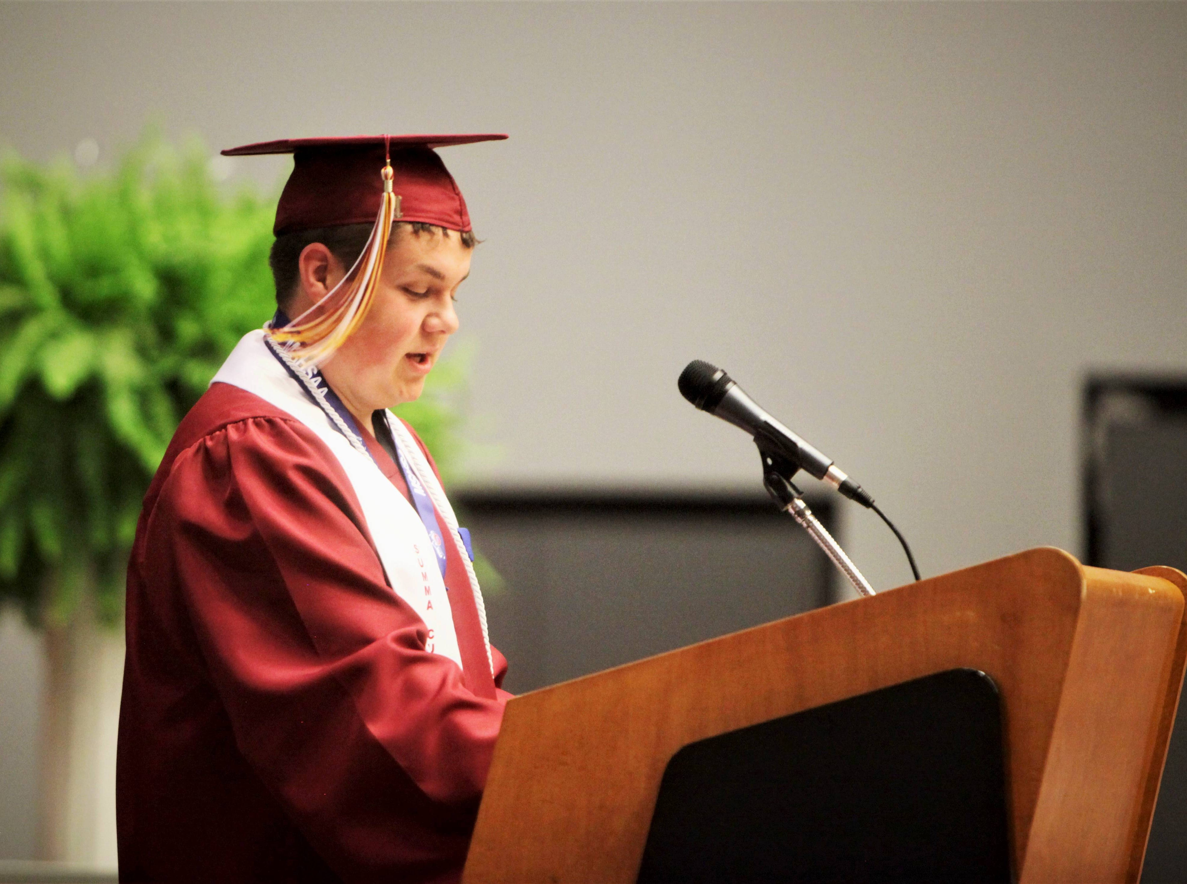 Conner Gulley gives his commencement speach during Logan-Rogersville High School's graduation Sunday, May 12, 2019, at O'Reilly Family Event Center.