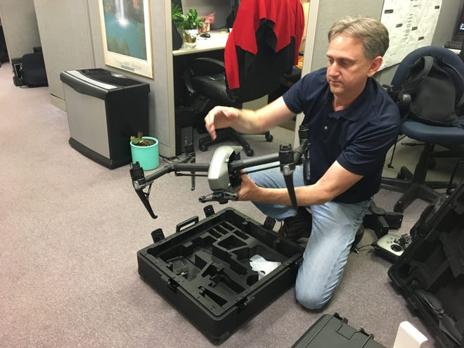 Staunton IT Director Kurt Plowman handles one of the city's newer drones. He's one of two city employees who has their federal drone pilot license.