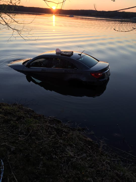 A vehicle crashed into Lower Spunk Lake near Avon at about 8 p.m. Friday, May 10.