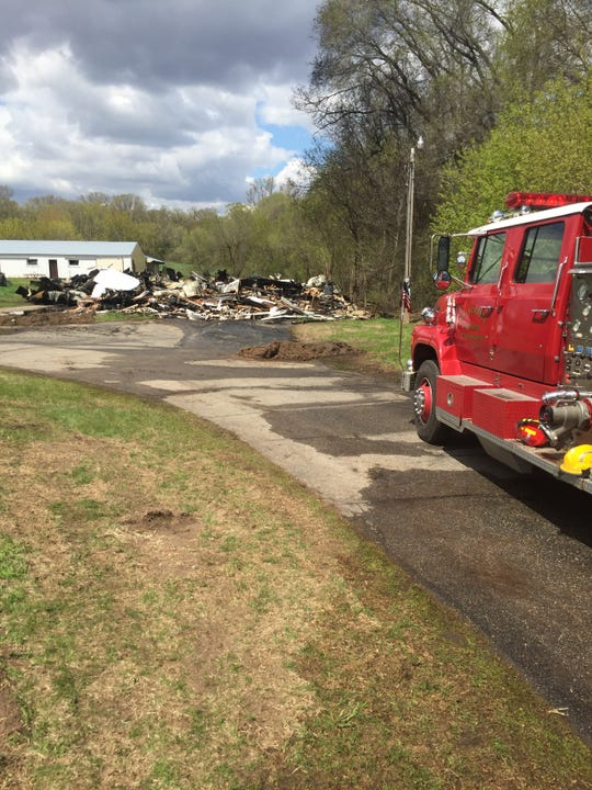 A pole shed is a complete loss after a fire Sunday, May 12 in St. Augusta.