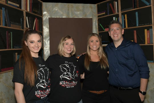 "Sara Darian, left, Kim Laird, Ashley Warren and Scott Laird at Renaissance Charter School of St. Lucie's production of ""Beauty and The Beast"" at the Sunrise Theatre in Fort Pierce."