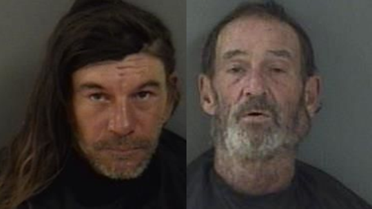 Peter Jankowski, 47 (left), and Francis Rhinehart, 57, were arrested after police said they were filmed having sex in public with two woman in downtown Vero Beach.