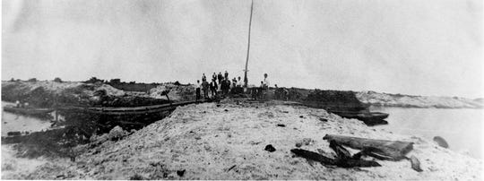 The last plug of land left prior to the temporary opening of the Sebastian Inlet in 1918.