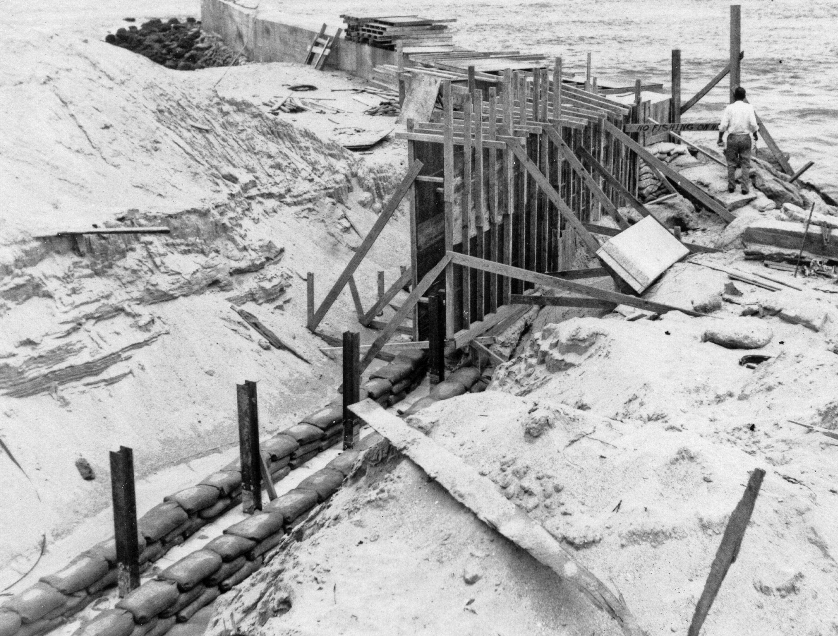 1958 jetty construction at Sebastian Inlet.