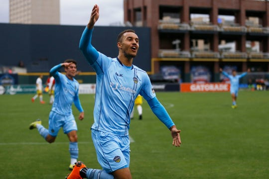 El Paso Locomotives' Jerome Kiesewetter celebrates a goal against New Mexico United during the game Sunday, May 12, at Southwest University Park.