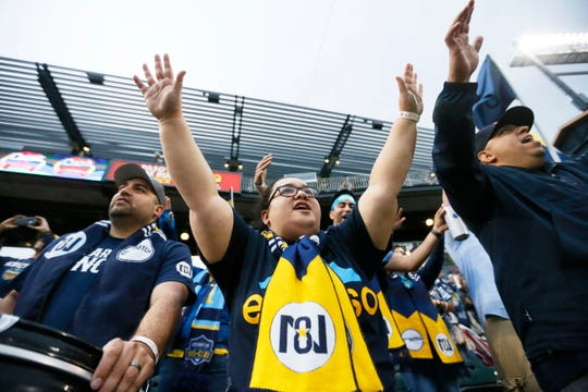 El Paso Locomotive fan Mikka Burrell cheers during the game against New Mexico United Sunday, May 12, at Southwest University Park.