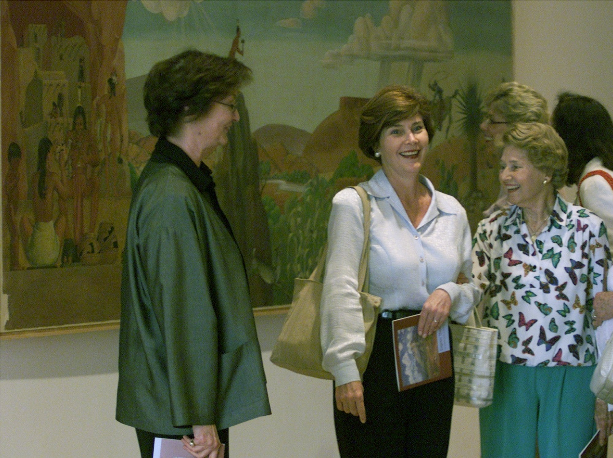 5/18/2000 Laura Bush, center, wife of Texas Gov. George W. Bush, toured the El Paso Museum of Art with her mother, Jenna Welch, right, and muesum director Becky Duval Reese, left, during a visit to El Paso Wednesday.