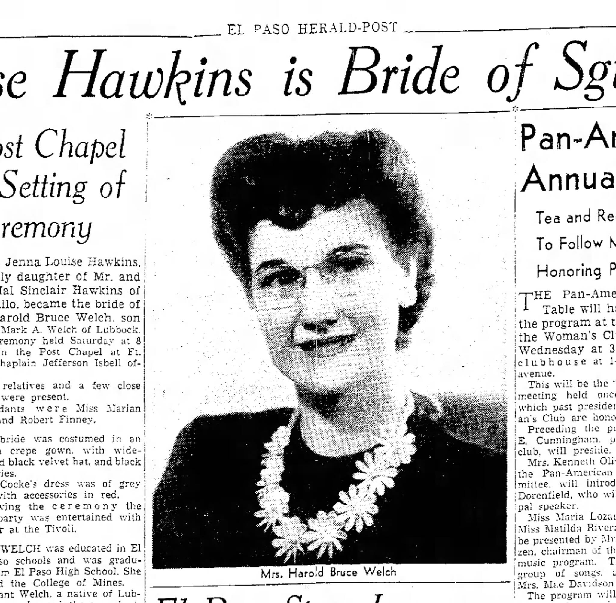 Miss Jenna Louise Hawkins is bride of St. Harold B. Welch