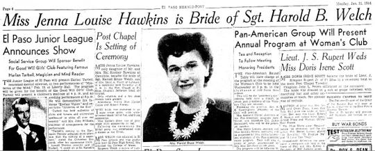 Jan. 31, 1944 Jenna Hawkins married Harold Welch.