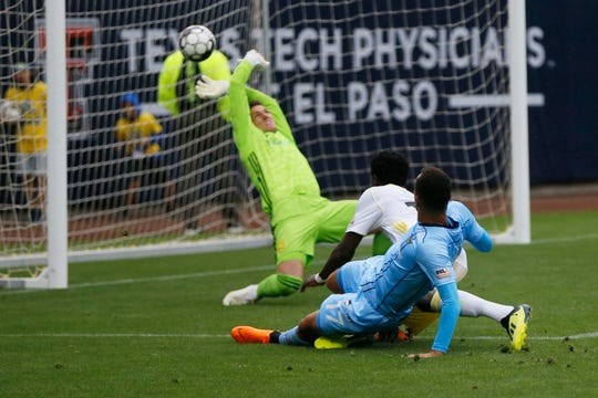El Paso Locomotives' Jerome Kiesewetter scores a goal against New Mexico United during the game Sunday, May 12, at Southwest University Park.