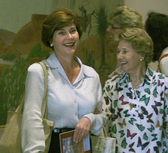 Laura Bush, left, wife of Texas Gov. George W. Bush, toured the El Paso Museum of Art with her mother, Jenna Welch, during a visit to El Paso in May 2000.